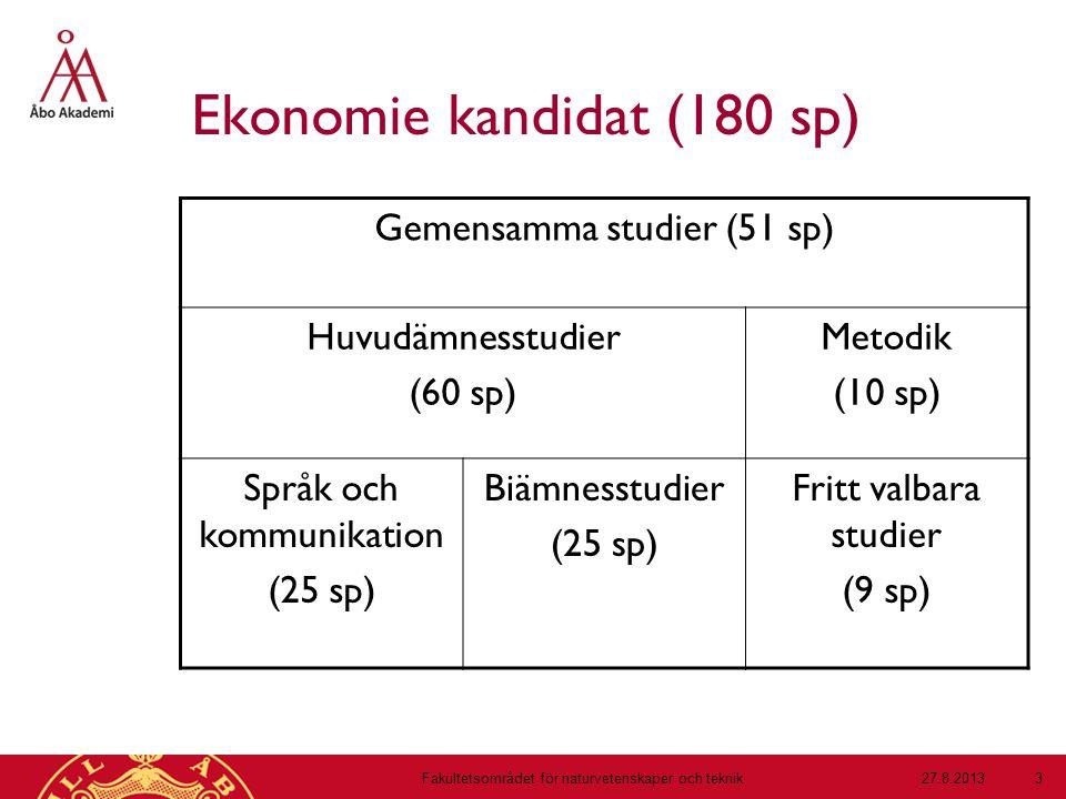 Ekonomie kandidat (180 sp) Gemensamma studier (51 sp) Huvudämnesstudier (60 sp) Metodik (10 sp) Språk och kommunikation (25 sp) Biämnesstudier (25 sp) Fritt valbara studier (9 sp) 27.8.2013Fakultetsområdet för naturvetenskaper och teknik 3