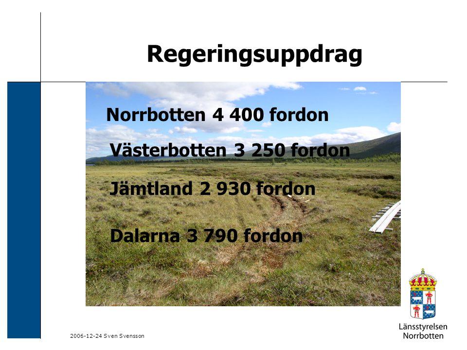2006-12-24 Sven Svensson Regeringsuppdrag Registrerade snöskotrar i Sverige 270 000 fordon registrerade i hela landet 180 000 fordon i de fyra fjällänen 90 000 fordon i övriga landet