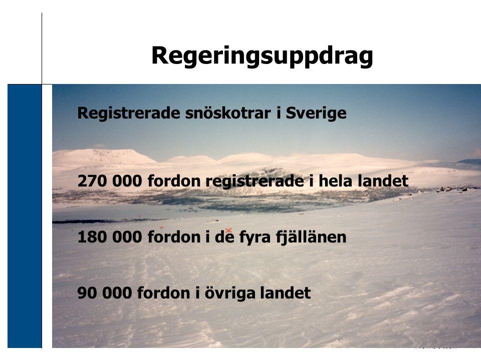 2006-12-24 Sven Svensson Regeringsuppdrag Registrerade snöskotrar i Sverige 270 000 fordon registrerade i hela landet 180 000 fordon i de fyra fjällän