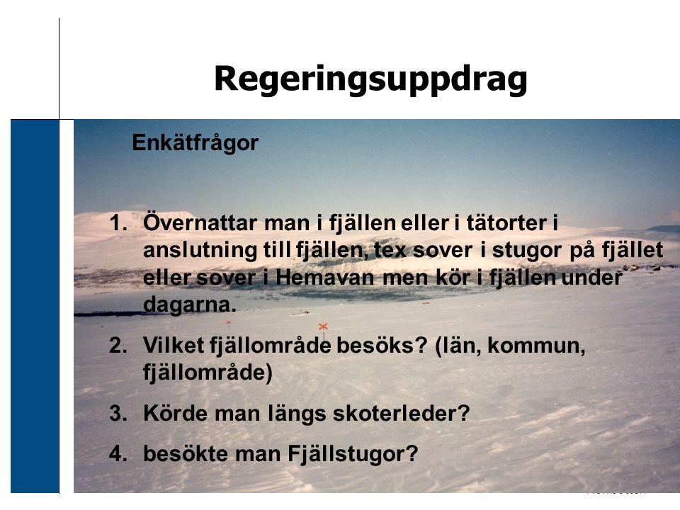 2006-12-24 Sven Svensson Regeringsuppdrag Enkätfrågor 1.Övernattar man i fjällen eller i tätorter i anslutning till fjällen, tex sover i stugor på fjä