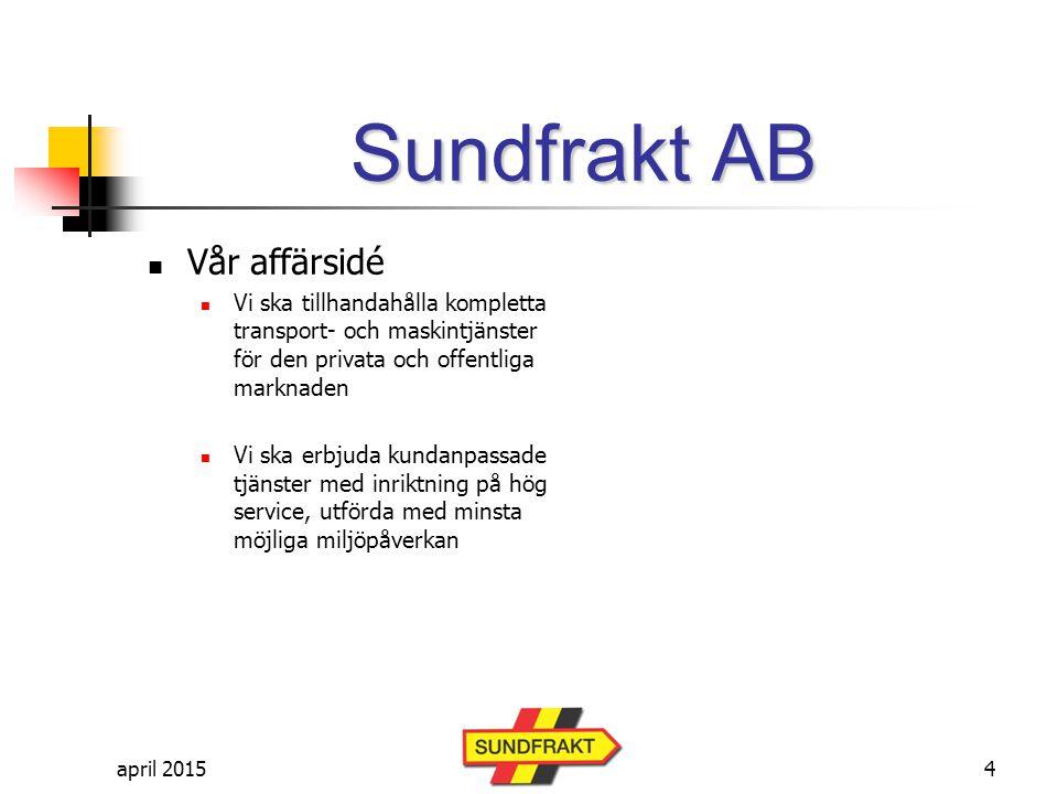 april 2015 Sundfrakt AB Vår kvalitetspolicy Att leverera tjänster och produkter med rätt kvalitet, till rätt pris, utförda i rätt tid och samtidigt sträva efter ständig förbättring i hela organisationen.