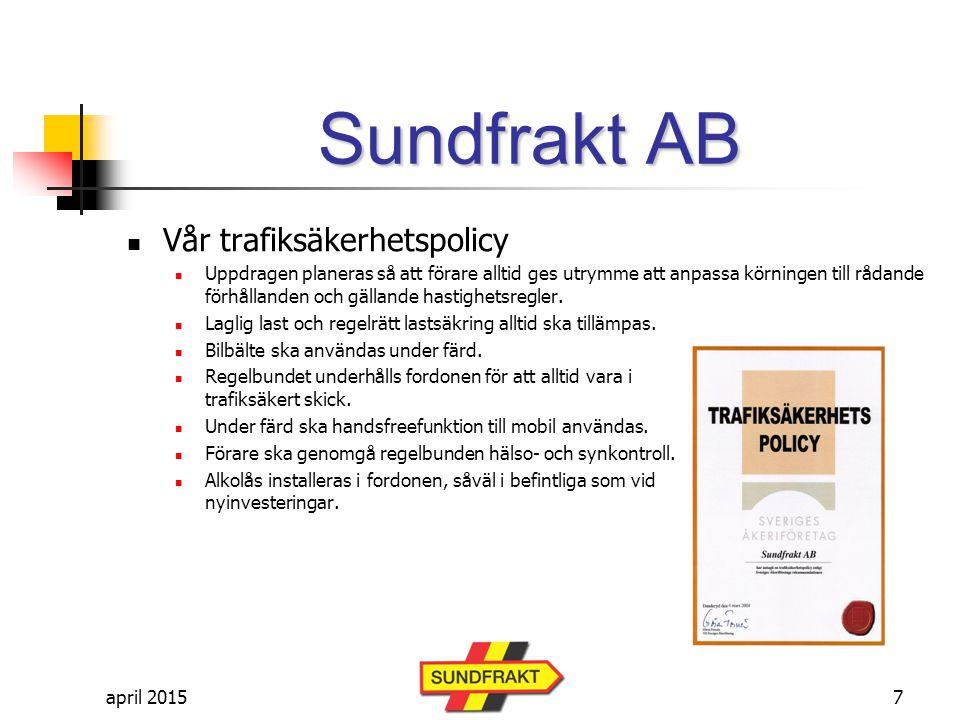 april 2015 Sundfrakt AB Anställda Antal sysselsatta i koncernen är ca 525 personer inkl åkeriägare & chaufförer Antal anställda i koncernen ca 70 st Anställda i Sundfrakt AB strax under 40 st 18
