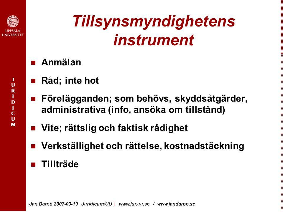 JURIDICUMJURIDICUM Jan Darpö 2007-03-19 Juridicum/UU   www.jur.uu.se / www.jandarpo.se Tillsynsmyndighetens instrument Anmälan Råd; inte hot Förelägga