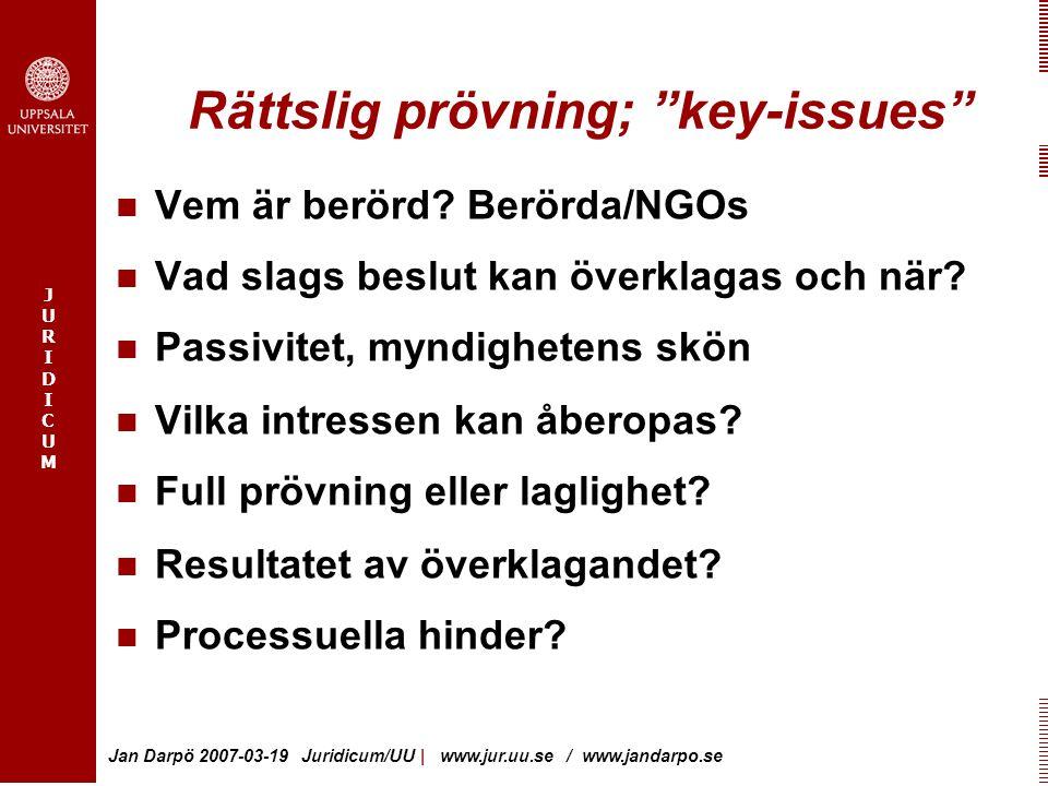 """JURIDICUMJURIDICUM Jan Darpö 2007-03-19 Juridicum/UU   www.jur.uu.se / www.jandarpo.se Rättslig prövning; """"key-issues"""" Vem är berörd? Berörda/NGOs Vad"""