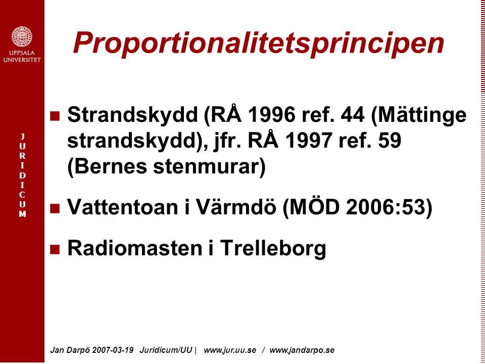 JURIDICUMJURIDICUM Jan Darpö 2007-03-19 Juridicum/UU   www.jur.uu.se / www.jandarpo.se Proportionalitetsprincipen Strandskydd (RÅ 1996 ref. 44 (Mättin