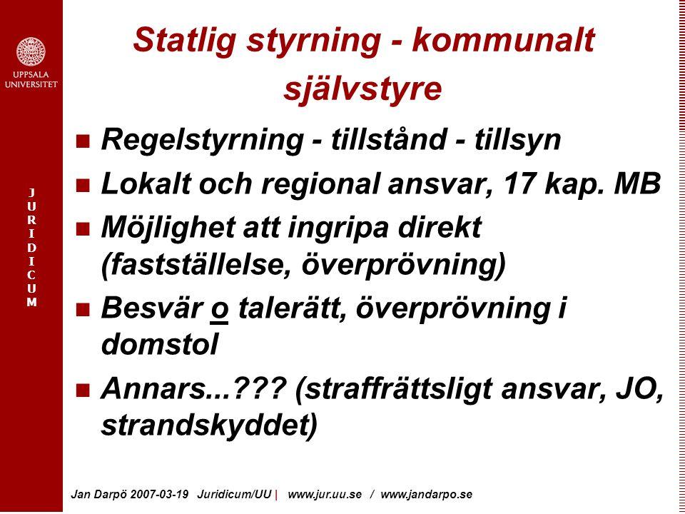 JURIDICUMJURIDICUM Jan Darpö 2007-03-19 Juridicum/UU | www.jur.uu.se / www.jandarpo.se Statlig styrning - kommunalt självstyre Regelstyrning - tillstå