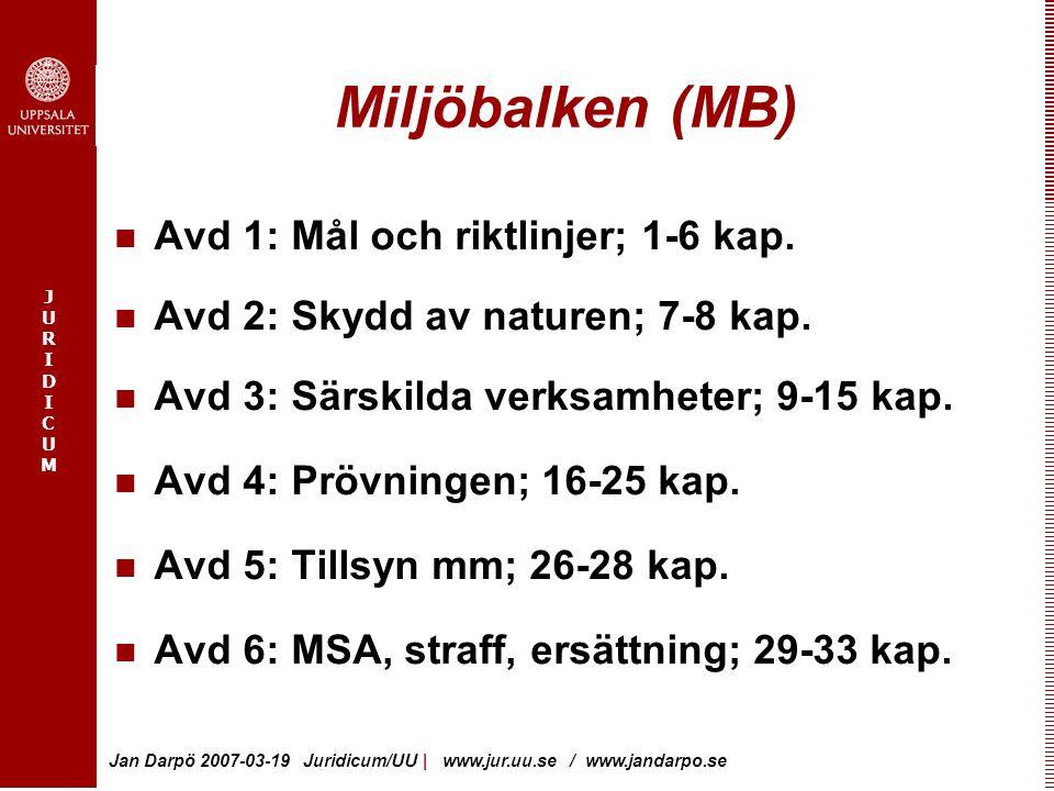 JURIDICUMJURIDICUM Jan Darpö 2007-03-19 Juridicum/UU | www.jur.uu.se / www.jandarpo.se Miljöbalken (MB) Avd 1: Mål och riktlinjer; 1-6 kap. Avd 2: Sky