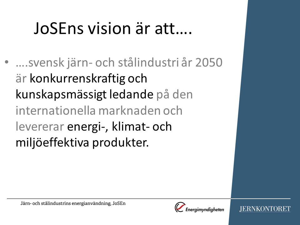 JoSEns vision är att…. ….svensk järn- och stålindustri år 2050 är konkurrenskraftig och kunskapsmässigt ledande på den internationella marknaden och l