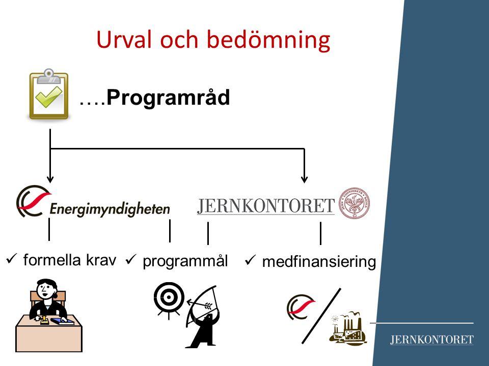 ….Programråd Urval och bedömning formella krav programmål medfinansiering