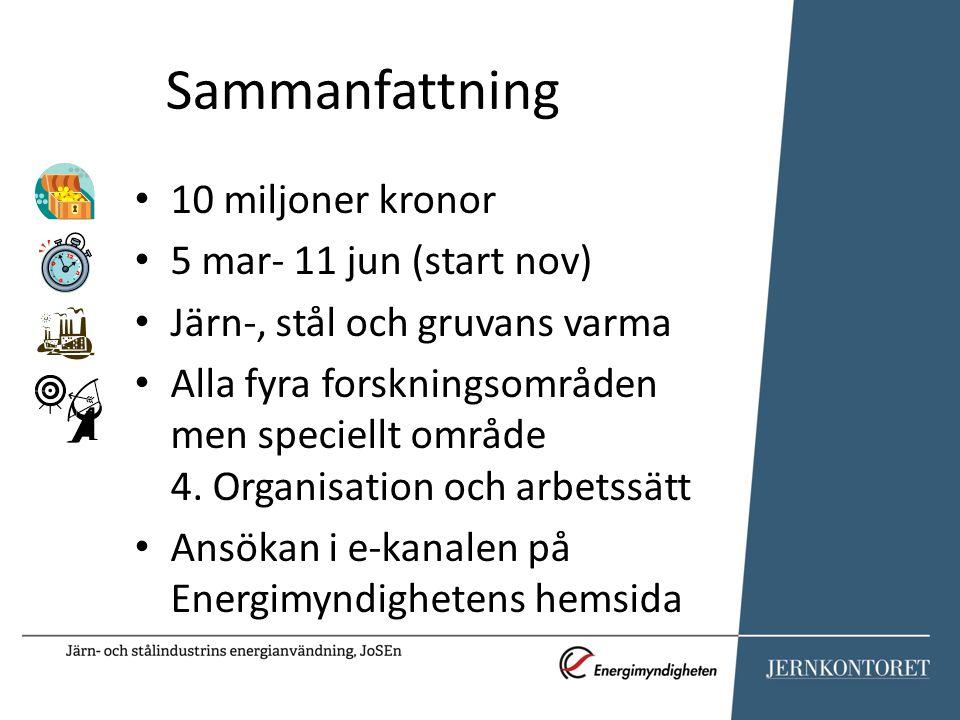 Sammanfattning 10 miljoner kronor 5 mar- 11 jun (start nov) Järn-, stål och gruvans varma Alla fyra forskningsområden men speciellt område 4. Organisa