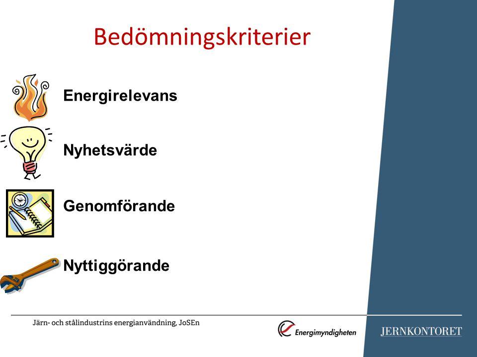 Bedömningskriterier Energirelevans Nyhetsvärde Genomförande Nyttiggörande