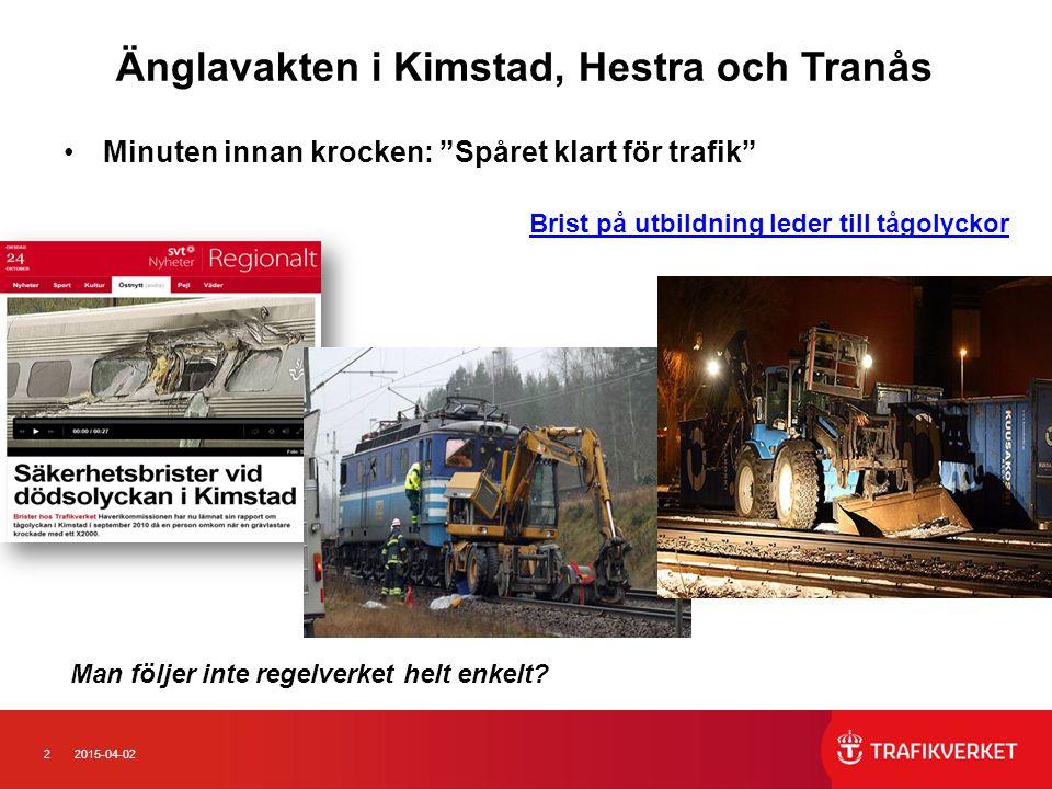 """22015-04-02 Änglavakten i Kimstad, Hestra och Tranås Minuten innan krocken: """"Spåret klart för trafik"""" Brist på utbildning leder till tågolyckor Man fö"""