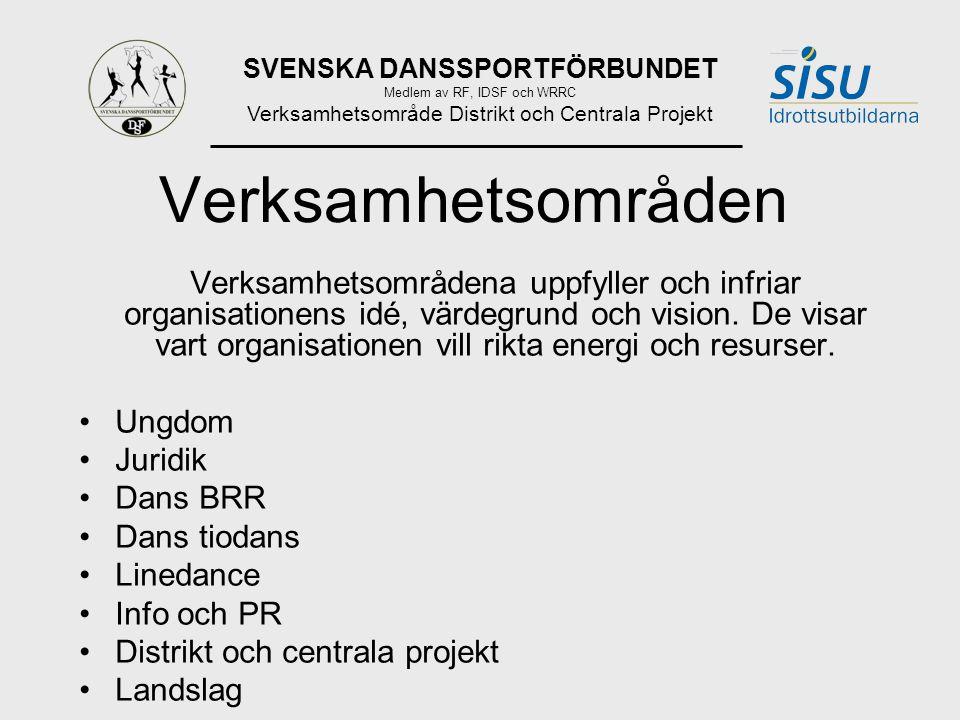 SVENSKA DANSSPORTFÖRBUNDET Medlem av RF, IDSF och WRRC Verksamhetsområde Distrikt och Centrala Projekt Verksamhetsområden Verksamhetsområdena uppfyller och infriar organisationens idé, värdegrund och vision.