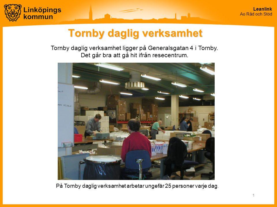 Leanlink Ao Råd och Stöd 1 Tornby daglig verksamhet På Tornby daglig verksamhet arbetar ungefär 25 personer varje dag. Tornby daglig verksamhet ligger