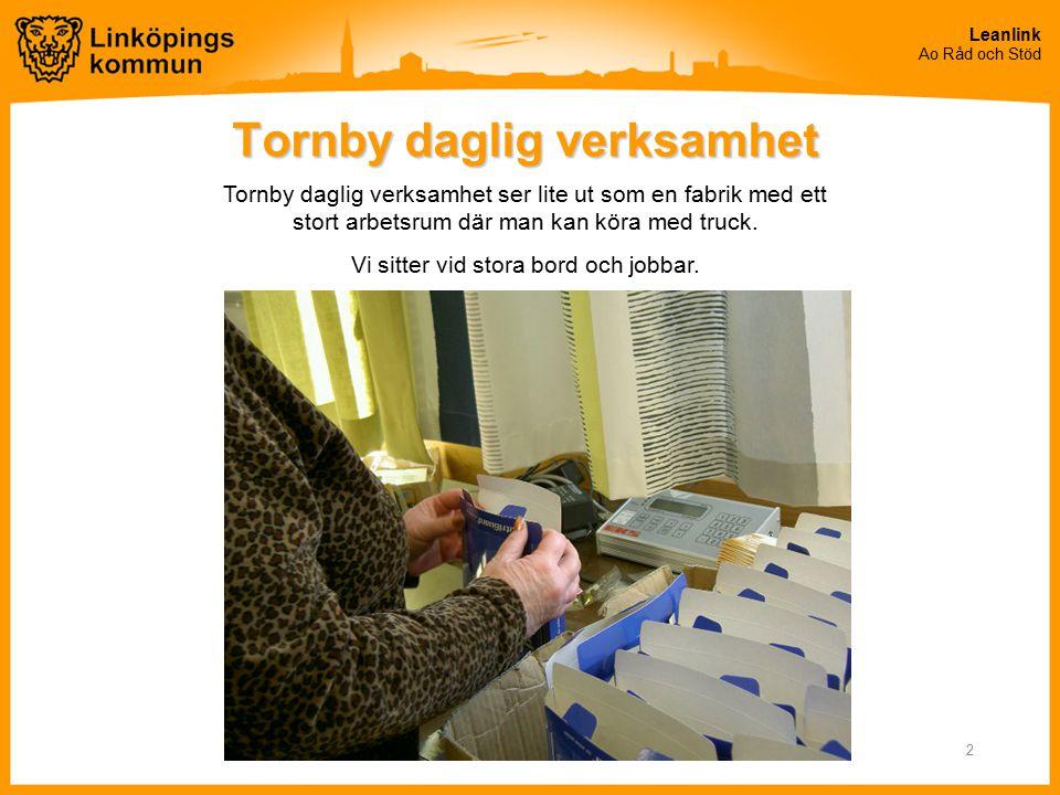 Leanlink Ao Råd och Stöd 2 Tornby daglig verksamhet Tornby daglig verksamhet ser lite ut som en fabrik med ett stort arbetsrum där man kan köra med tr