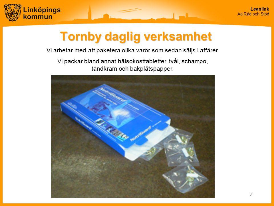 Leanlink Ao Råd och Stöd 3 Tornby daglig verksamhet Vi arbetar med att paketera olika varor som sedan säljs i affärer. Vi packar bland annat hälsokost