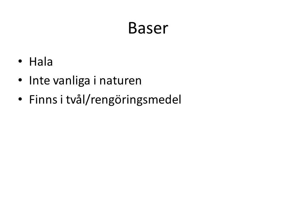 Baser Hala Inte vanliga i naturen Finns i tvål/rengöringsmedel