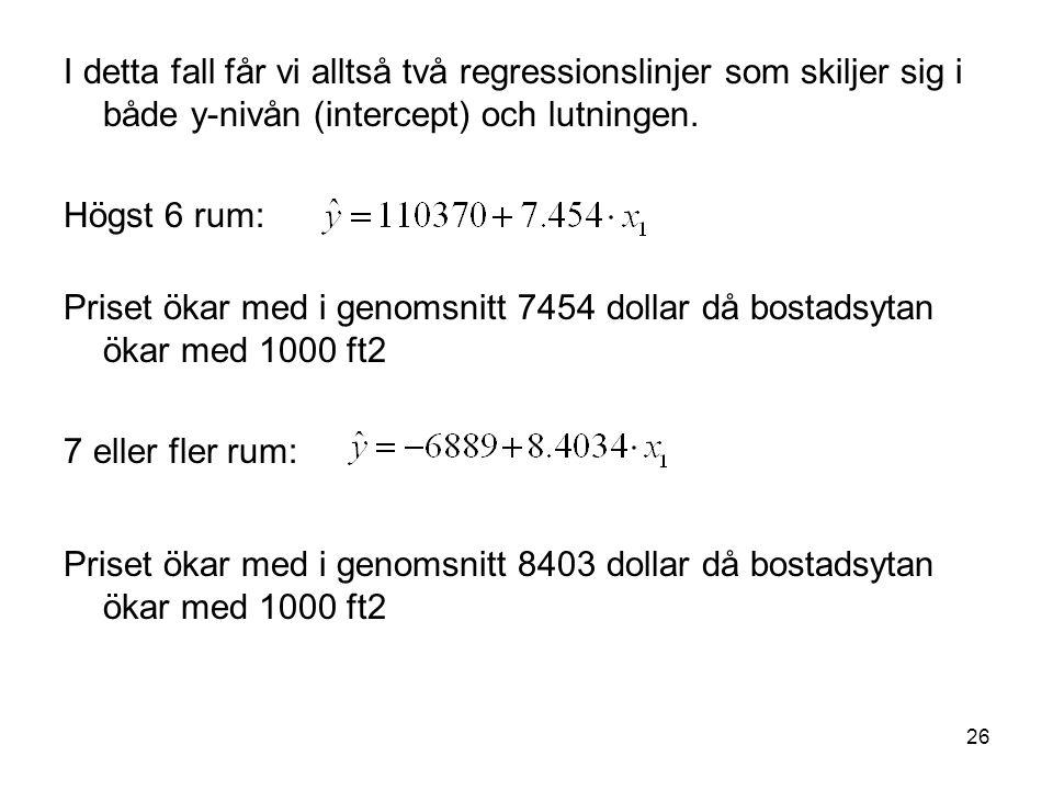 26 I detta fall får vi alltså två regressionslinjer som skiljer sig i både y-nivån (intercept) och lutningen. Högst 6 rum: Priset ökar med i genomsnit