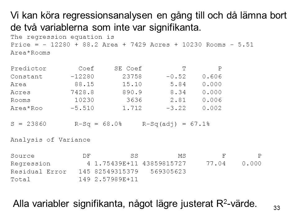 33 Vi kan köra regressionsanalysen en gång till och då lämna bort de två variablerna som inte var signifikanta. The regression equation is Price = - 1