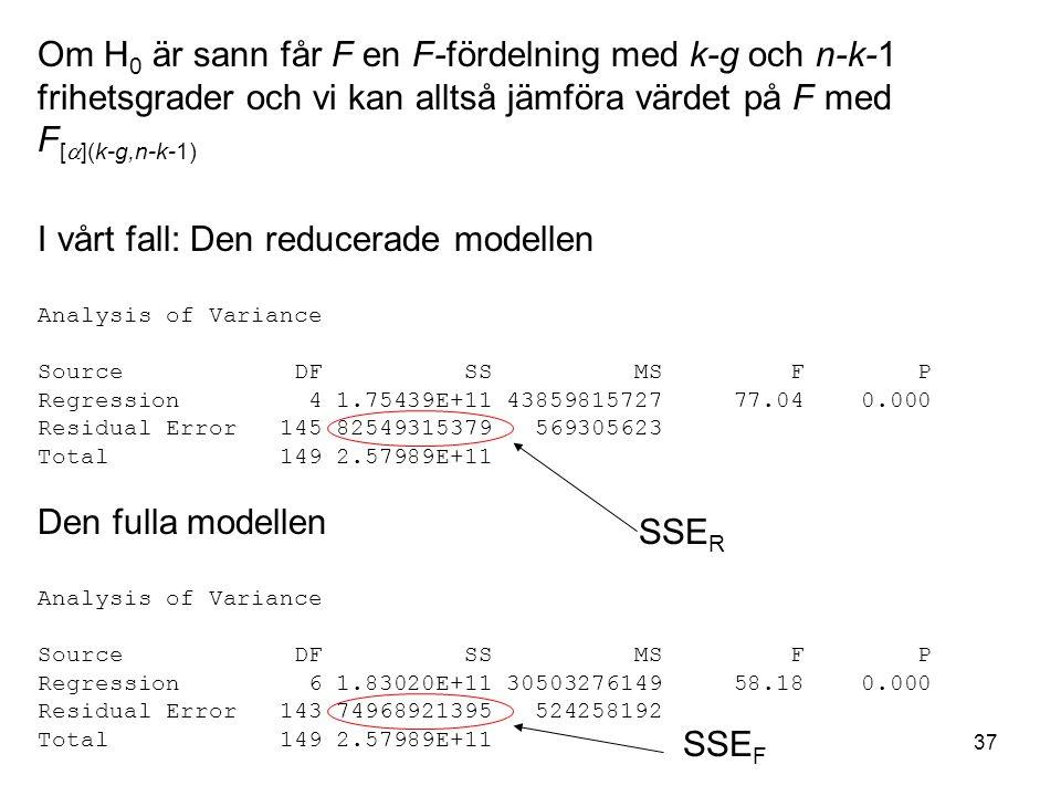 37 Om H 0 är sann får F en F-fördelning med k-g och n-k-1 frihetsgrader och vi kan alltså jämföra värdet på F med F [  ](k-g,n-k-1) I vårt fall: Den