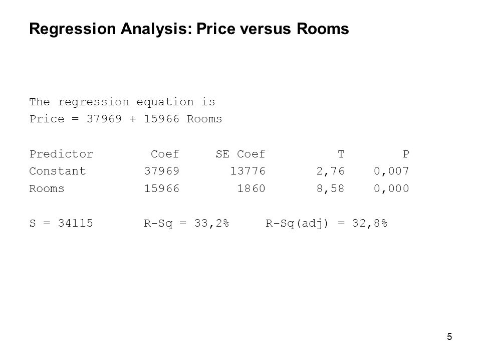 5 Regression Analysis: Price versus Rooms The regression equation is Price = 37969 + 15966 Rooms Predictor Coef SE Coef T P Constant 37969 13776 2,76