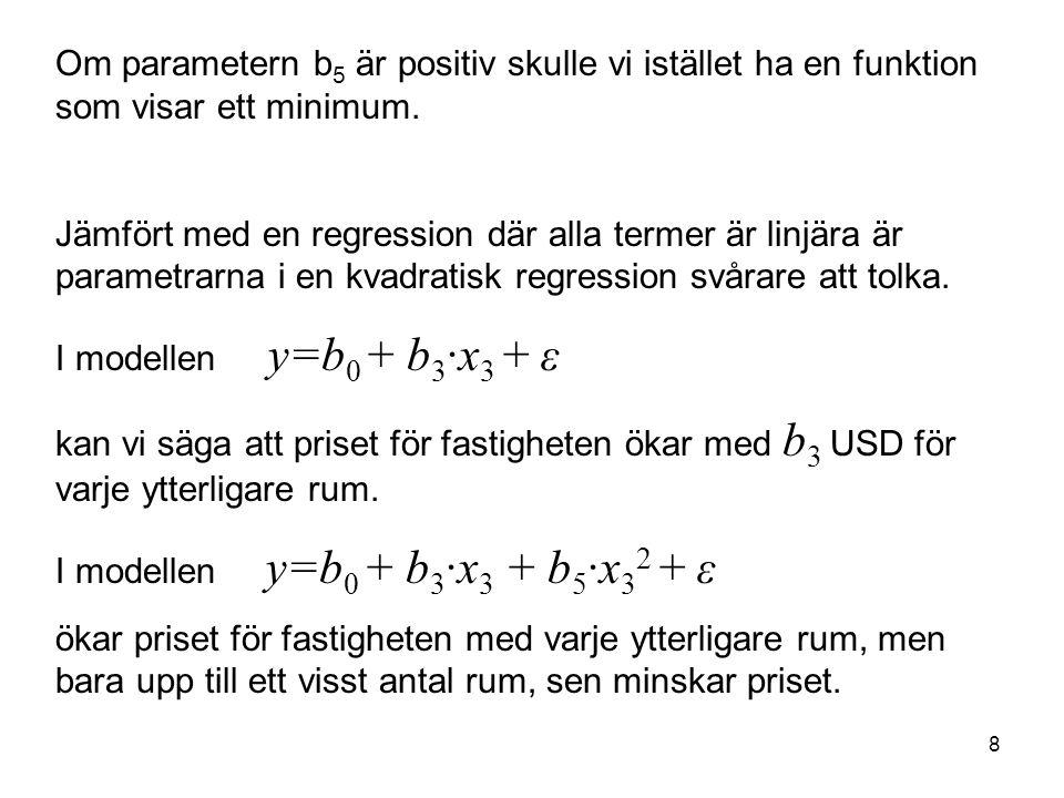 8 Om parametern b 5 är positiv skulle vi istället ha en funktion som visar ett minimum. Jämfört med en regression där alla termer är linjära är parame