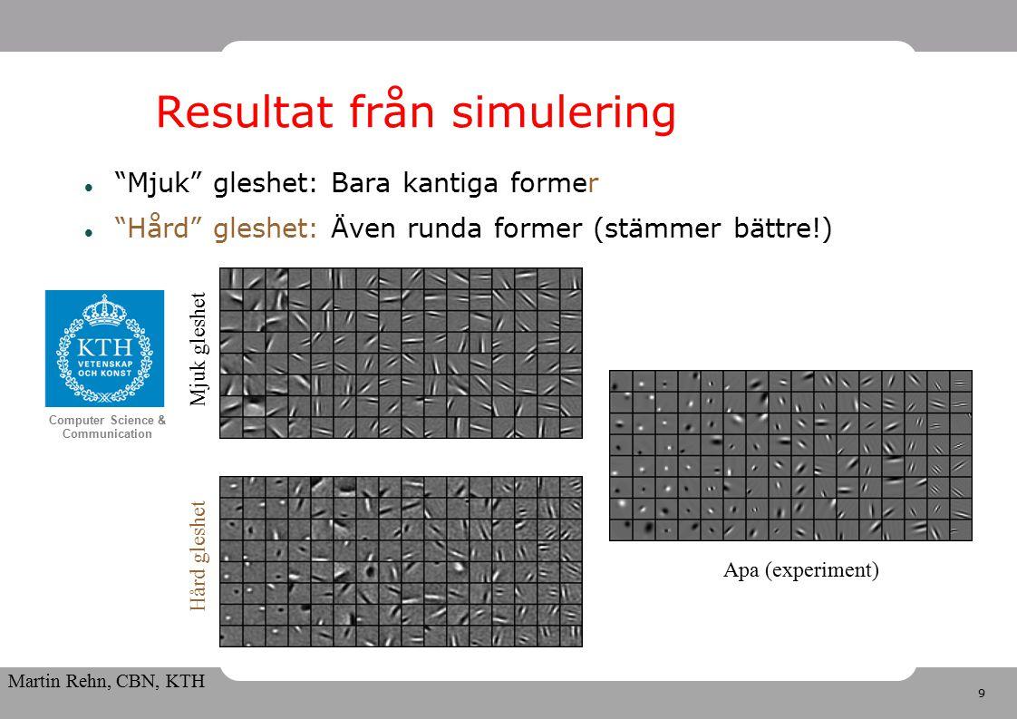 9 Computer Science & Communication Martin Rehn, CBN, KTH Resultat från simulering Mjuk gleshet: Bara kantiga former Hård gleshet: Även runda former (stämmer bättre!) Mjuk gleshet Hård gleshet Apa (experiment)