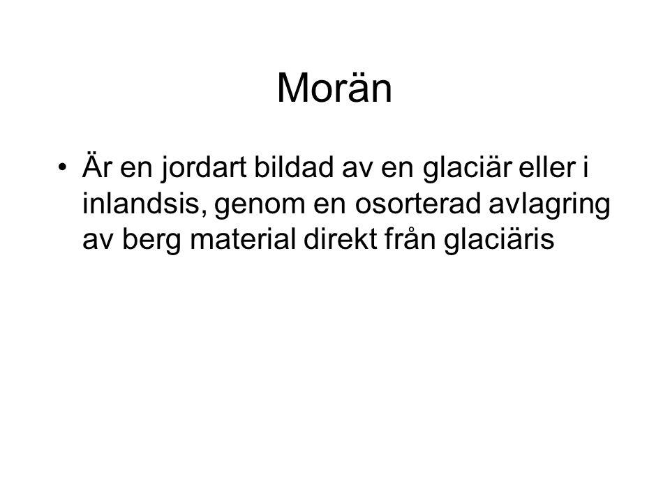 Morän Är en jordart bildad av en glaciär eller i inlandsis, genom en osorterad avlagring av berg material direkt från glaciäris