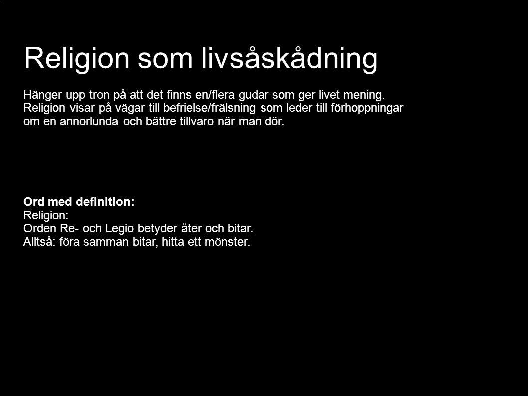 Religion som livsåskådning Hänger upp tron på att det finns en/flera gudar som ger livet mening. Religion visar på vägar till befrielse/frälsning som