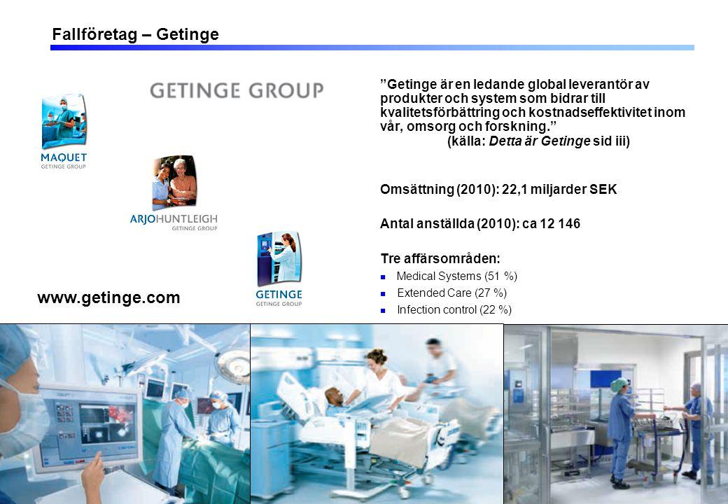 11 Fallföretag – Getinge Getinge är en ledande global leverantör av produkter och system som bidrar till kvalitetsförbättring och kostnadseffektivitet inom vår, omsorg och forskning. (källa: Detta är Getinge sid iii) Omsättning (2010): 22,1 miljarder SEK Antal anställda (2010): ca 12 146 Tre affärsområden: Medical Systems (51 %) Extended Care (27 %) Infection control (22 %) www.getinge.com