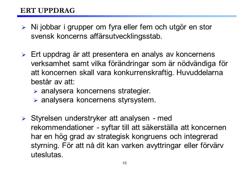 16 ERT UPPDRAG  Ni jobbar i grupper om fyra eller fem och utgör en stor svensk koncerns affärsutvecklingsstab.
