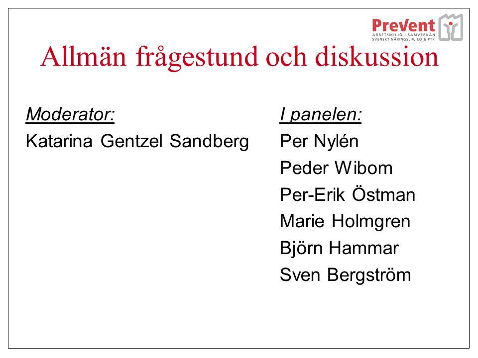 Allmän frågestund och diskussion Moderator: Katarina Gentzel Sandberg I panelen: Per Nylén Peder Wibom Per-Erik Östman Marie Holmgren Björn Hammar Sve