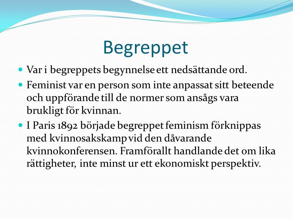 Feminismen i Sverige Introducerades av Frida Stéenhoff 1903 i Feminismens moral, vilket var en föreläsning.
