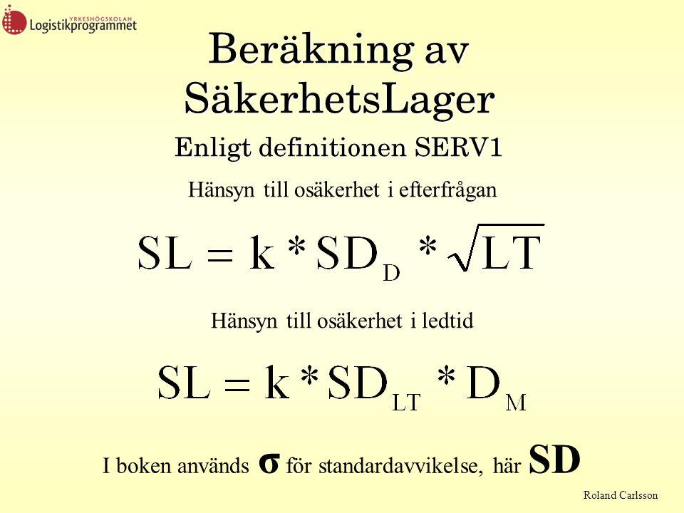 Roland Carlsson Beräkning av SäkerhetsLager Enligt definitionen SERV1 Hänsyn till osäkerhet i efterfrågan Hänsyn till osäkerhet i ledtid I boken använ
