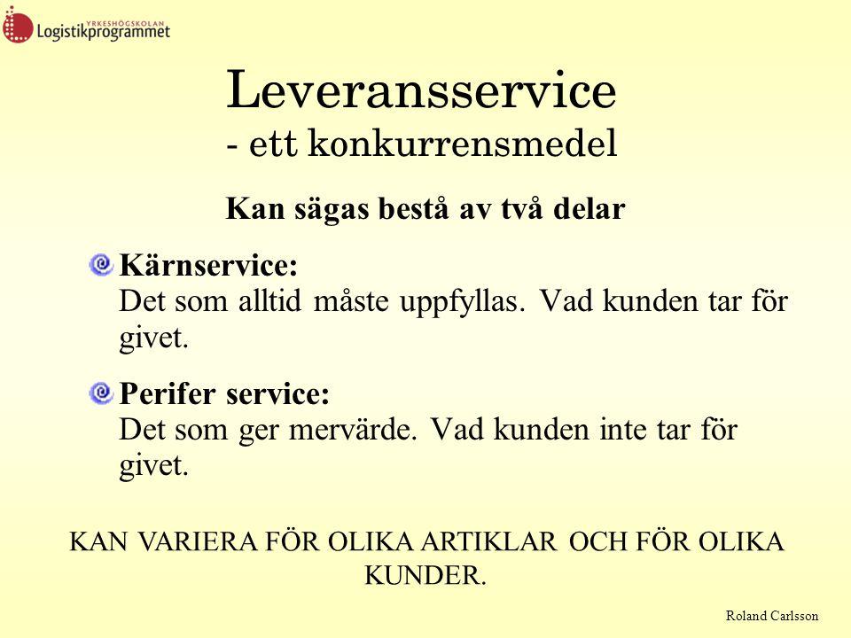 Roland Carlsson Olika syn på leveransservice Kund och leverantör kan ha olika syn på begreppet leveransservice Leverantörens syn: Från mottagning av ordern till att utleveransen är gjord.