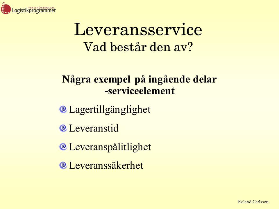 Roland Carlsson Leveransservice Vad består den av? Några exempel på ingående delar -serviceelement Lagertillgänglighet Leveranstid Leveranspålitlighet