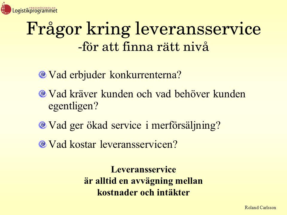 Roland Carlsson Frågor kring leveransservice -för att finna rätt nivå Vad erbjuder konkurrenterna? Vad kräver kunden och vad behöver kunden egentligen