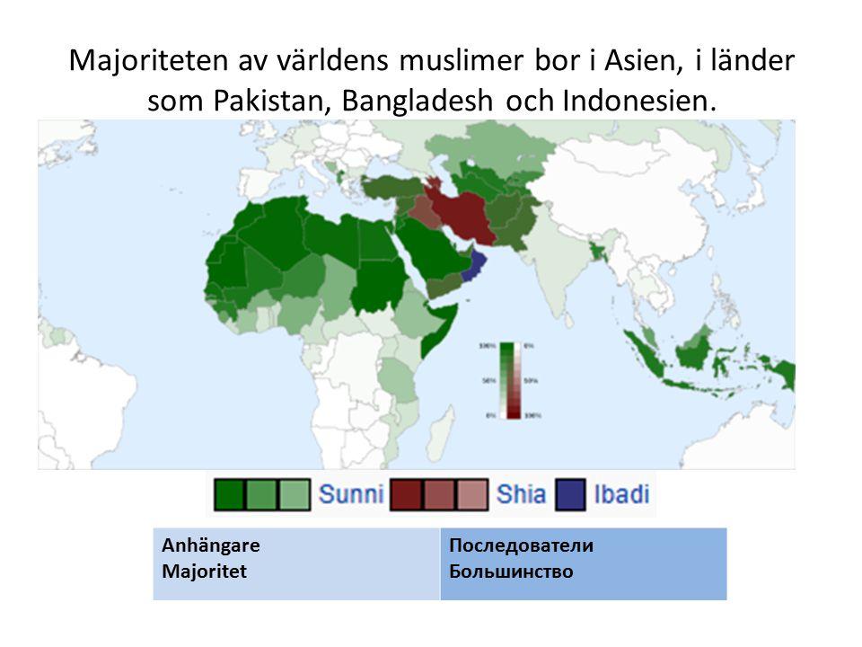 Majoriteten av världens muslimer bor i Asien, i länder som Pakistan, Bangladesh och Indonesien. Anhängare Majoritet Последователи Большинство