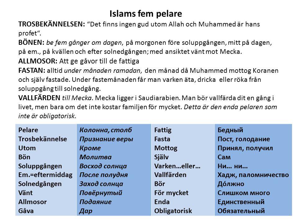 """Islams fem pelare TROSBEKÄNNELSEN: """"Det finns ingen gud utom Allah och Muhammed är hans profet"""". BÖNEN: be fem gånger om dagen, på morgonen före solup"""