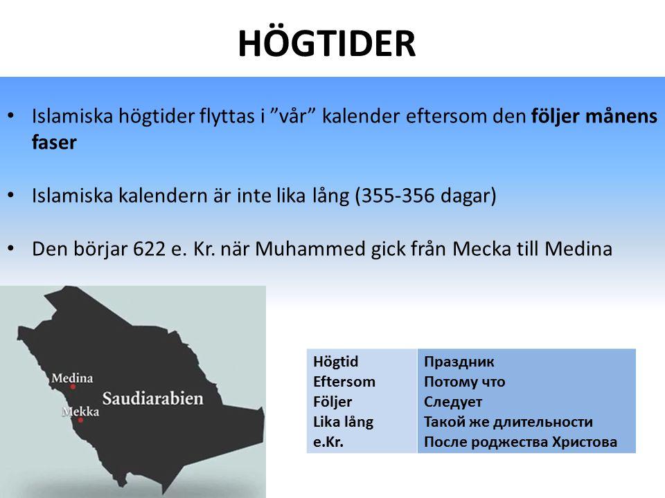 """HÖGTIDER Islamiska högtider flyttas i """"vår"""" kalender eftersom den följer månens faser Islamiska kalendern är inte lika lång (355-356 dagar) Den börjar"""