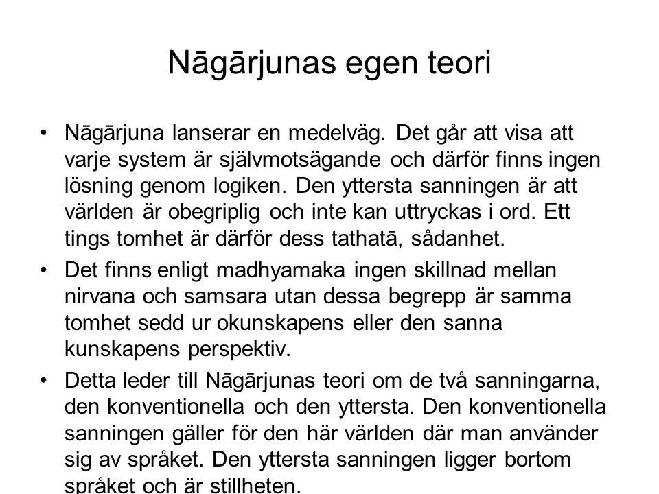 Nāgārjunas egen teori Nāgārjuna lanserar en medelväg. Det går att visa att varje system är självmotsägande och därför finns ingen lösning genom logike