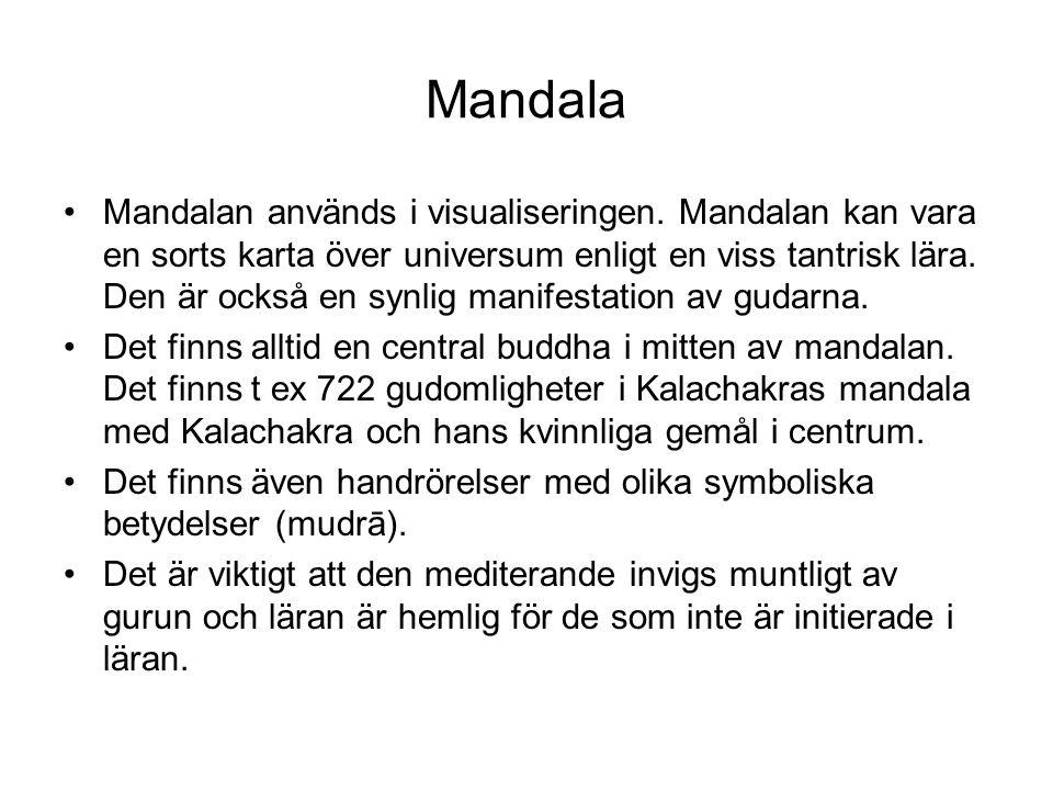Mandala Mandalan används i visualiseringen. Mandalan kan vara en sorts karta över universum enligt en viss tantrisk lära. Den är också en synlig manif