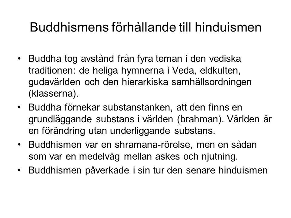 Buddhismens förhållande till hinduismen Buddha tog avstånd från fyra teman i den vediska traditionen: de heliga hymnerna i Veda, eldkulten, gudavärlde