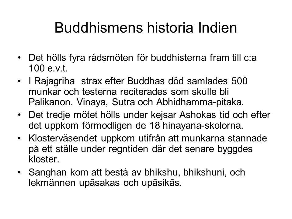 Buddhismens historia Indien Det hölls fyra rådsmöten för buddhisterna fram till c:a 100 e.v.t. I Rajagriha strax efter Buddhas död samlades 500 munkar