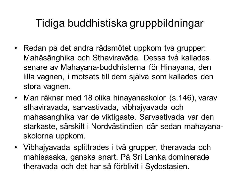 Tidiga buddhistiska gruppbildningar Redan på det andra rådsmötet uppkom två grupper: Mahāsānghika och Sthaviravāda. Dessa två kallades senare av Mahay