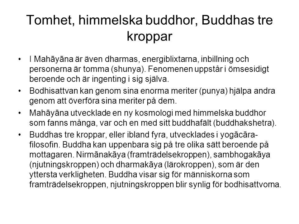 Tomhet, himmelska buddhor, Buddhas tre kroppar I Mahāyāna är även dharmas, energiblixtarna, inbillning och personerna är tomma (shunya). Fenomenen upp