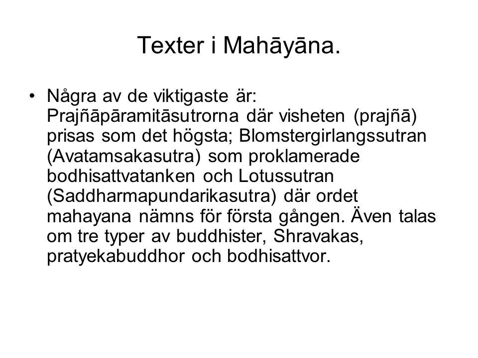 Texter i Mahāyāna. Några av de viktigaste är: Prajñāpāramitāsutrorna där visheten (prajñā) prisas som det högsta; Blomstergirlangssutran (Avatamsakasu