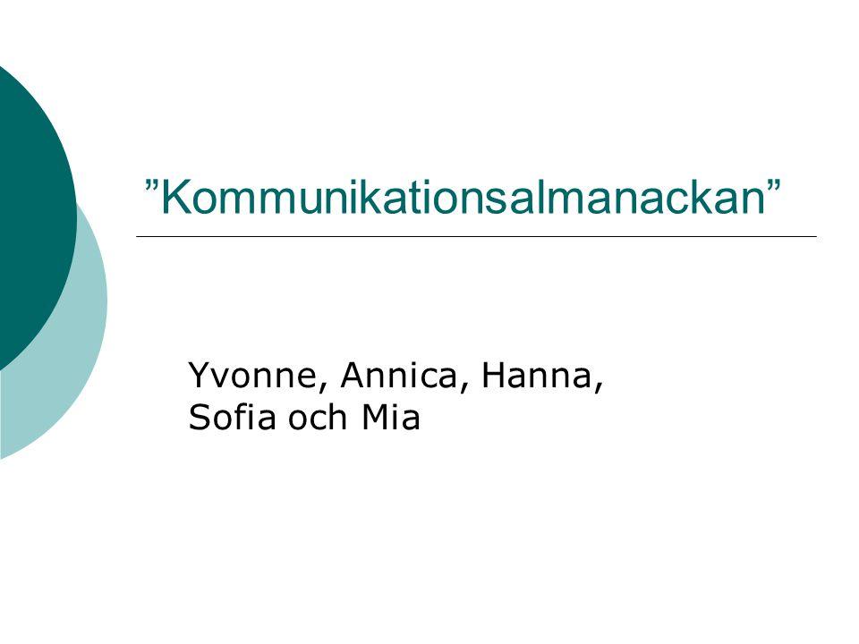 Kommunikationsalmanackan Yvonne, Annica, Hanna, Sofia och Mia