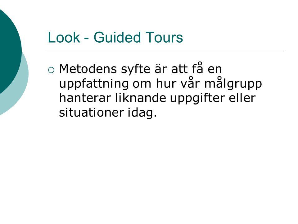 Look - Guided Tours  Metodens syfte är att få en uppfattning om hur vår målgrupp hanterar liknande uppgifter eller situationer idag.