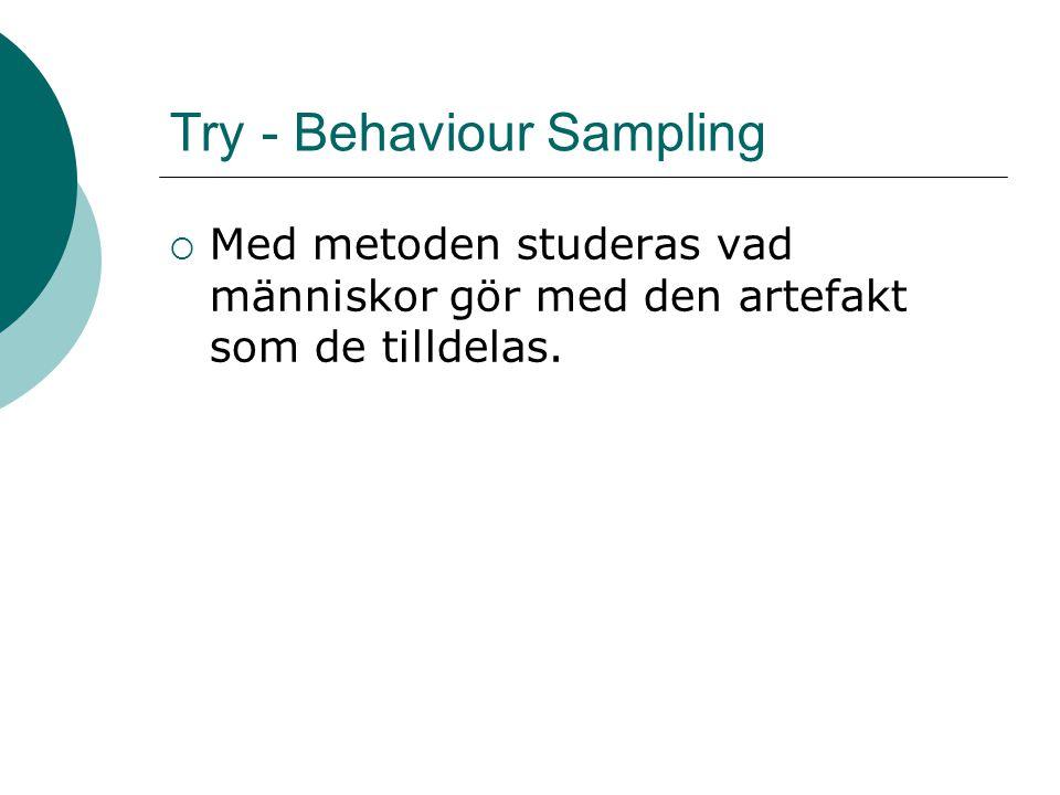 Try - Behaviour Sampling  Med metoden studeras vad människor gör med den artefakt som de tilldelas.